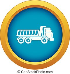 Dumper truck icon blue vector isolated