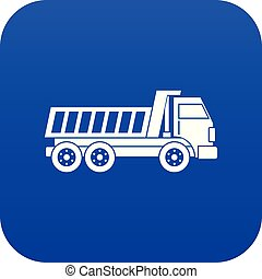 Dumper truck icon digital blue