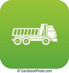 Dumper truck icon digital green