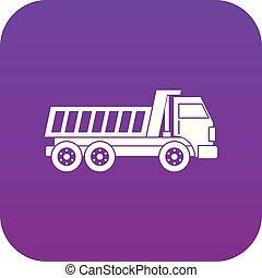 Dumper truck icon digital purple