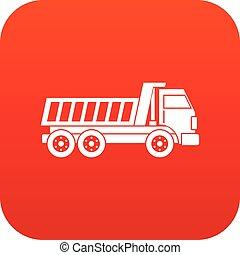 Dumper truck icon digital red