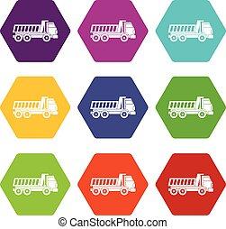 Dumper truck icon set color hexahedron