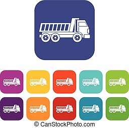 Dumper truck icons set flat