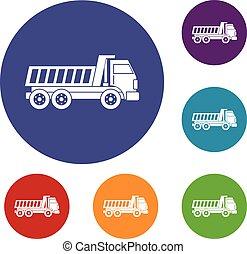 Dumper truck icons set