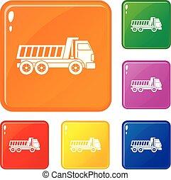 Dumper truck icons set vector color