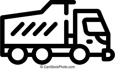 dumper truck line icon vector isolated illustration