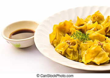 Dumpling on white background