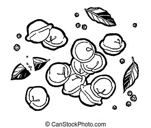 Dumplings . Bay leaf. Black pepper peas. Ink hand drawing. Food, vegetables and fruit isolated on white background. Book illustration, recipe, menu, magazine or journal article.