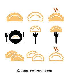 Warm dumplings, dumpling on fork icons set isolated on white