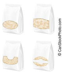 dumplings of dough with a filling in packaged set icons vector illustration
