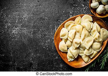 Dumplings on a plate.