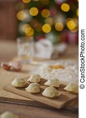 Dumplings preparation for Christmas Eve
