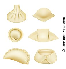 Dumplings realistic. Dough products pierogi asian dumplings wontons and manti with stuffing vector illustrations set. Traditional khinkali and dumpling, asian dish isolated