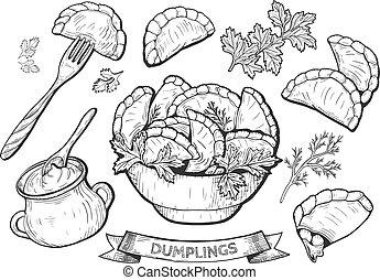 dumplings set illustration