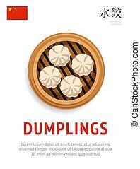 dumplings., traditionnel, chinois, dish.