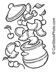 Dumplings, vareniki in a pot. Cherry jam. Ink hand drawing. Black and white. Food, vegetables and fruit isolated on white background. Book illustration, recipe, menu, magazine or journal article.