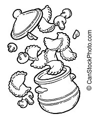 Dumplings, vareniki in a pot. Mushroom baked, roast. Ink hand drawing. Food, vegetables and fruit isolated on white background. Book illustration, recipe, menu, magazine or journal article.