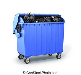 dumpster, 3d, garbage., イラスト, 満たされた