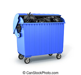dumpster filled with garbage. 3D illustration