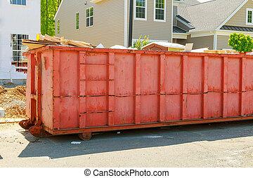 dumpsters, ある, フルである, ごみ
