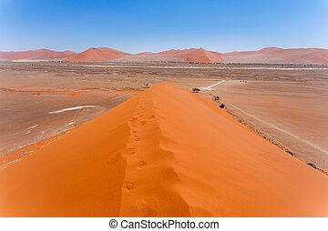duna, 45, en, sossusvlei, namibia, vista, de, el, cima, de,...