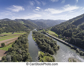 Dunajec river. Mountain landcsape at summer time in south of Poland. View from above.