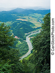 Dunajec river viewed from Three Crowns hill in Poland....