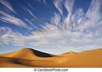 dunas, 2010, arena, año, nuevo, desierto