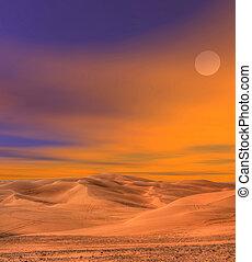 dunas, areia, deserto