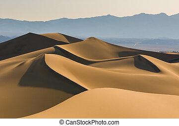dunas, arena, cielo, encima, salida del sol
