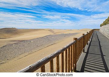 dunas, arena, gran, spain., maspalomas., canaria.
