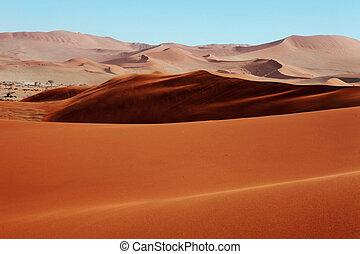 dunas, arena, rojo
