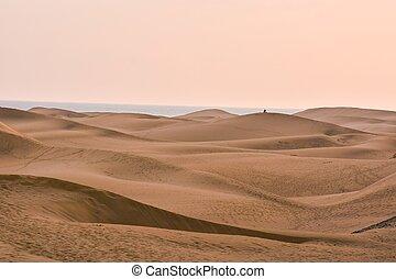 dunas, canaria, arena, gran, desierto, españa