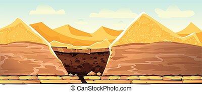 dunas, cavado, hoyo arena, paisaje del desierto
