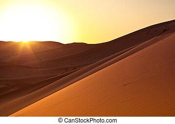 dunas, durante, s, desierto de sahara