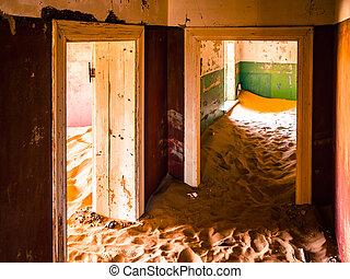 dunas, en, abandonado, casa, de, kolmanskop, pueblo fantasma, en, namibia