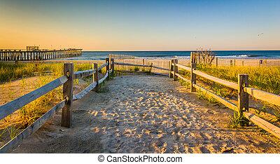 dunas, encima, océano, ventnor, arena, atlántico, trayectoria, salida del sol