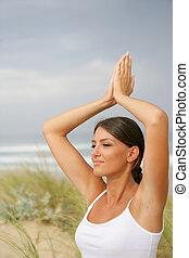dunas, mulher, ioga