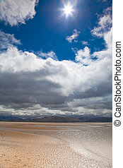 dunas, playa, nubes blancas, cielo azul, plano de fondo