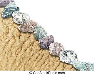 dunas, rocas, en, un, limitado, plano de fondo