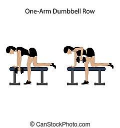 dunbbell, une, bras, exercice, rang