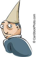 Dunce Cap - A cartoon man wearing a dunce cape in shame.