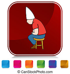Dunce Hat Man on Stool Button Set