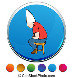 Dunce Hat Man on Stool Button Set