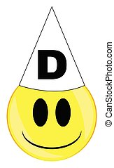 Dunce Smile Face Button Isolated