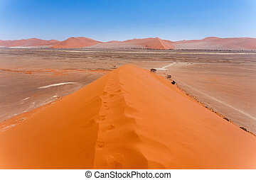 Dune 45 in sossusvlei Namibia, view from the top of a Dune...