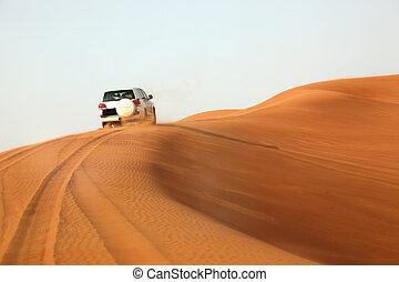 Dune bashing in the desert near Dubai, United Arab Emirates