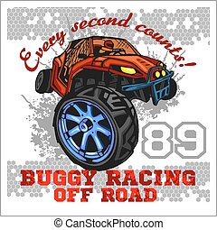Dune buggy riders - off road badge - vector illustration