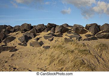 dune, cielo blu, olandese