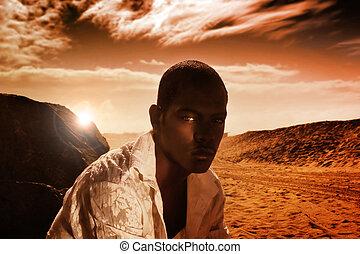 dune, giovane, rosso, uomo